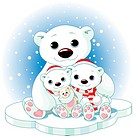 Christmas Polar bear family on ice floe