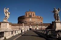Castel Sant'Angelo and Ponte Sant'Angelo bridge with the angels by Bernini in Rome, Italy, Europe