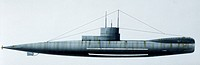 Naval ships - British Royal Navy submarine HMS R1, 1918. Color illustration