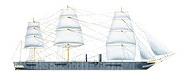 Ships - Great Britain, Royal Navy - Warrior armoured battleship (1860). Drawing