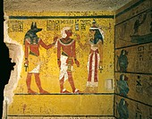 Egypt, Thebes, Luxor. Valley of the Kings, Tomb of Tutankhamen, mural paintings of pharaoh receiving symbol of eternal life ´ankh´ from sky goddess Ha...