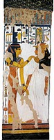 Egypt, Thebes, Luxor, Valley of the Queens, Tomb of Nefertari, mural painting of Isis and queen on pillar in Burial chamber from 19th dynasty