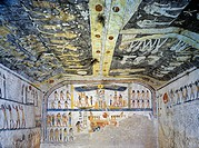 Egypt, Thebes (UNESCO World Heritage List, 1979) - Luxor. Valley of the Kings. Tomb of Ramses IX. Burial chamber. Painted ceiling illustrates Book of ...