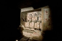 Egypt, Thebes (UNESCO World Heritage List, 1979) - Luxor. Sheikh 'Abd al-Qurna. Tomb of first herald Duaerneheh. Sculpture (Dynasty 18, Hatshepsut, 14...