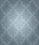 Blue seamless classic pattern with floral ornament