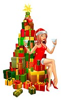 Pretty woman in Santa outfit sitting on stack of gifts. Uses mesh tool