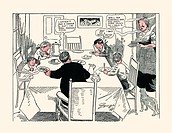 A cartoon of a family sittings down for a meal finding it hard to wait for the delicious pancakes.