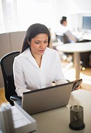 Businesswoman working on laptop, businessman in background