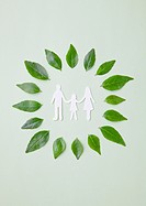 Family holding hands and leaves Ecology image