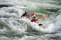 USA, Idaho, River rafting down the Salmon River ...