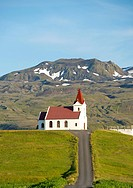 Ingjaldsholl Lutheran church near Hellissandur on the Snaefellsnes peninsula in west Iceland.