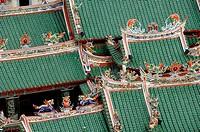 Roof of Hong San Chinese Temple Chinatown Kuching Sarawak Borneo Malaysia