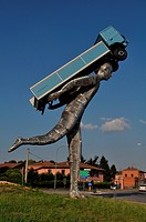 Italy, Emilia Romagna, Bologna, the big sculpture The Road Giants, by Rotatoria                                                                       ...