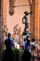 Firenze, Italy, local police at the entrance of Palazzo Vecchio, Palazzo della Signoria, facing the Arengario                                         ...