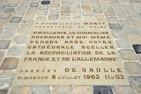 Inlaid floor slab, memorial plaque in honor of Konrad Adenauer and Charles de Gaulle to further the Franco_German reconciliation after World War II, i...