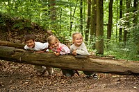 3 Children, 6, 5 and 4 years, playing on a tree trunk in a forest