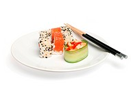 Asian lunch plate of sushi isolated on the white background