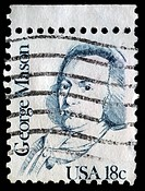 A stamp printed in USA shows George Mason one of Father of the Bill of Rights