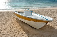 Boat Beached on a SandyTropical Beach by the Ocean