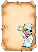 Chef holding meal on parchment _ color illustration.