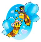 Honey bees wedding on sky _ color illustration.