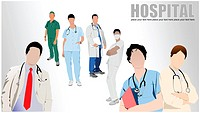 Group of Medical doctors and nurse in hospital. Vector illustration