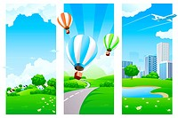 Three Nature banners with clouds grass flowers aircraft and balloons