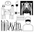 Surgery medical icon set, EPS8 vector format.