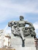 1929 Fontana Angelica fountain, piazza Solferino, Turin, Italy, detail