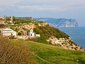 Summer coast and Saint George cloister view from Phiolent Cape Crimea, Ukraine