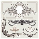 Set of classic floral border and decoration elements, editable vector illustration