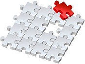 Set of puzzles for game, combined picture with red puzzle, illustration