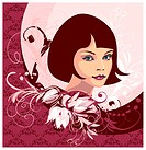Young woman face with flower ornament background, editable vector illustration
