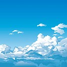 Blue sky with cloudscape, editable vector illustration