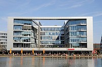 Modern office buildings, restaurants, Innenhafen, Inner Harbor, Duisburg, Ruhr area, North Rhine-Westphalia, Germany, Europe