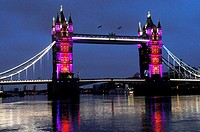 Tower Bridge new lighting for the Queen's Diamond Jubilee and London Olympics 2012, London, England, United Kingdom