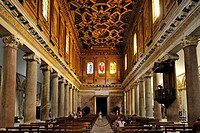 Nave with antique Ionic columns and coffered ceiling by Domenichino, Basilica Santa Maria in Trastevere, Rome, Lazio, Italy, Europe