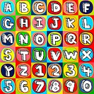 Colorful alphabet letters and numbers background squares