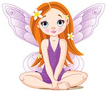 Vector Illustration of cute violet little fairy