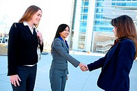 A beautiful young business woman shaking hands at office building