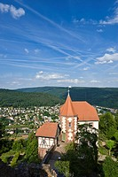 Panorama with the Kommandantenhaus or commander's house, Bergfeste Dilsberg castle, Dilsberg district, Neckargemuend, Naturpark Neckar-Odenwald nature...