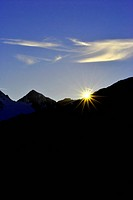 sunset sun mountain dolomites with glacier and wildlife park in Val Senales