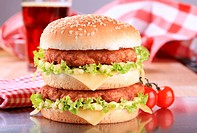 Appetizing double cheeseburger _ ready to eat