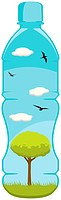 A lovely vector of a tree, grass, clouds and birds inside a small water bottle. Editable vector file in the .eps format.