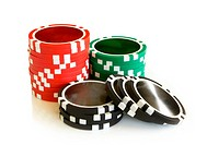 Casino chips on a white background