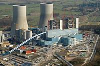 Aerial view, Kraftwerk Westfalen power plant, coal-fired power plant of RWE Power, former nuclear power plant THTR, Hamm, Ruhrgebiet area, North Rhine...