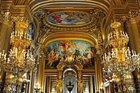 Interior, Grand Foyer with ceiling painting by Paul Baudry with motifs from musical history, Opéra Palais Garnier opera, Paris, France, Europe