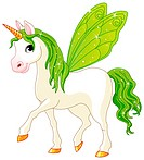 Green Cute winged horse of Fairy Tail. Rainbow colored horses series