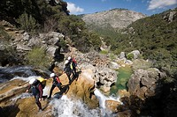 Group of men canyoning in Cazorla National Park, Jaen, Spain, Europe