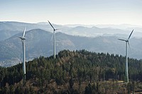 Aerial view, wind turbines on Rosskopf mountain, Freiburg im Breisgau, Baden_Wuerttemberg, Germany, Europe